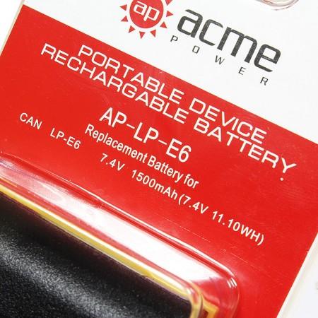 Аккумулятор AcmePower AP-LP-E6 для Canon EOS 5Ds, EOS 5D Mark II, EOS 5D Mark IIl, EOS 6D, EOS 7D, EOS 60D, EOS 70D.