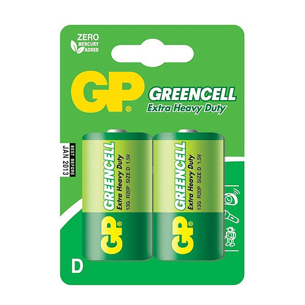 Элемент питания GP D (R20) Greencell 2BL
