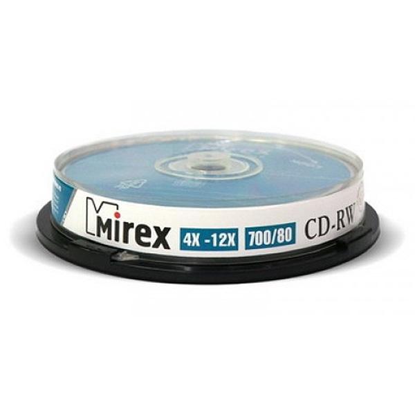 Диск Mirex CD-RW 700MB 12x Cake Box 10шт...
