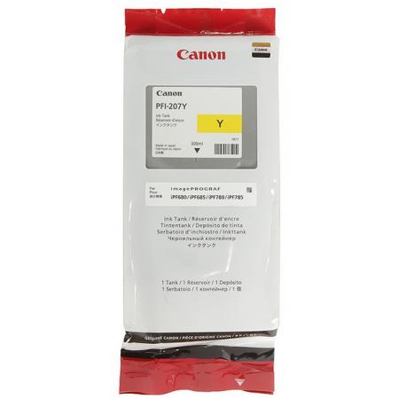 Картридж Canon PFI-207 Y для плоттера iPF680/685/780/785. Жёлтый. 300 мл. 8792B001