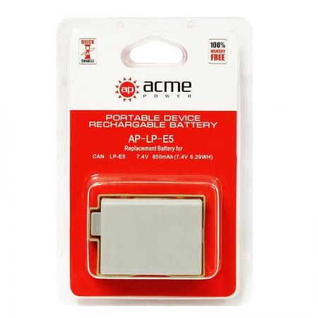 Аккумулятор AcmePower AP-LP-E5 для EOS 450D, 500D, 1000D, Rebel XS, Rebel XSi, Rebel T1i, Kiss F, Kiss X2, Kiss X3