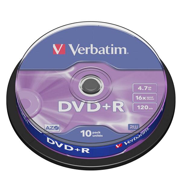 Диск Verbatim DVD+R 4.7 GB 16x, Cake Box