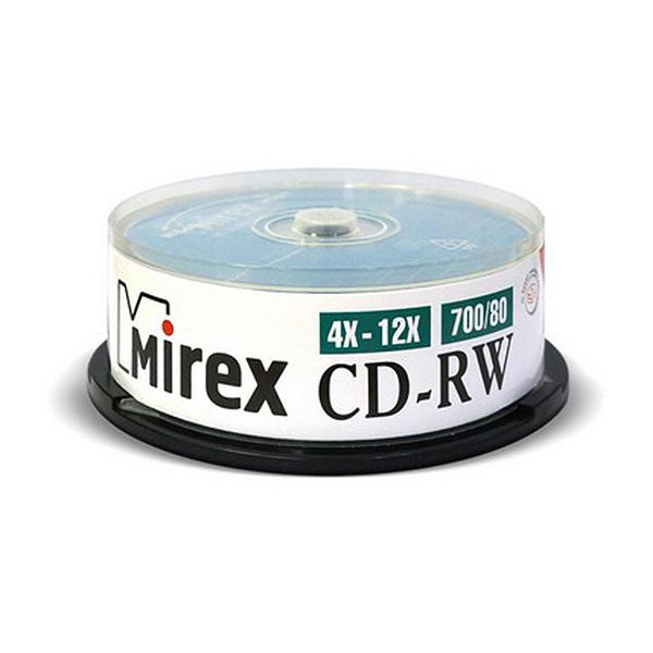 Диск Mirex CD-RW 700MB 12x Cake Box 25шт...